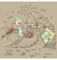 Family picnic in the garden of the house vector