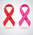 Breast ribbon red and pink vector