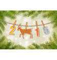 2015 with a goat on winter background vector