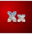 Set of aluminum or silver foil letters letter x vector