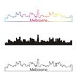 Melbourne skyline linear style with rainbow vector