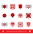 Cardiology and blood transfusion icons set vector