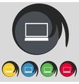 Laptop sign icon notebook pc symbol set colur vector