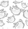 Seamless pattern with teapots vector
