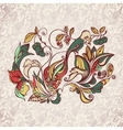 Abstract floral pattern with bird vector