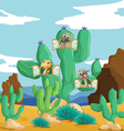 Various animals and cactus vector