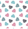 Hand drawn doodle seamless pattern of hearts vector