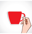 Red coffee cup in hand vector