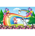 Animals playing at the hilltop with a rainbow vector