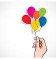 Colorful balloon in hand vector