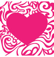 Pink romantic valentine card with curly frame vector