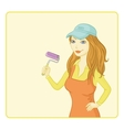 Girl painter with a paint roller vector
