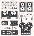 Retro music recording equipment object vector
