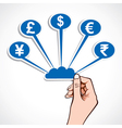 Creative currency symbol icon in hand vector