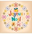 Joyeux noel - merry christmas in french retro card vector