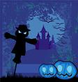 Halloween scary scarecrow vector