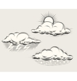 Engraving weather sun behind cloud rain and vector