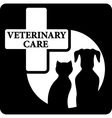 Pet silhouette on black veterinary care icon vector