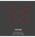 Butterfly flat modern web button and space for vector