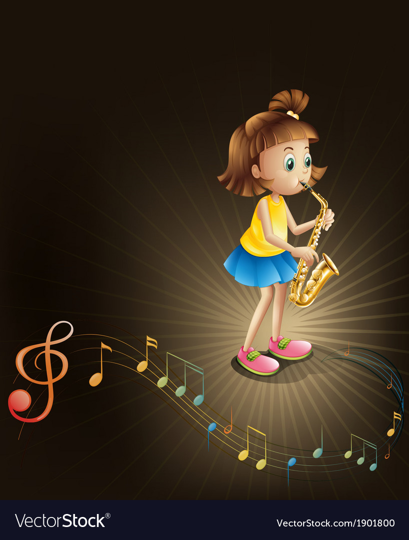 A talented young girl with a saxophone vector | Price: 3 Credit (USD $3)