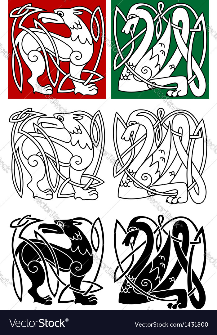 Abstract animals in celtic style vector | Price: 1 Credit (USD $1)
