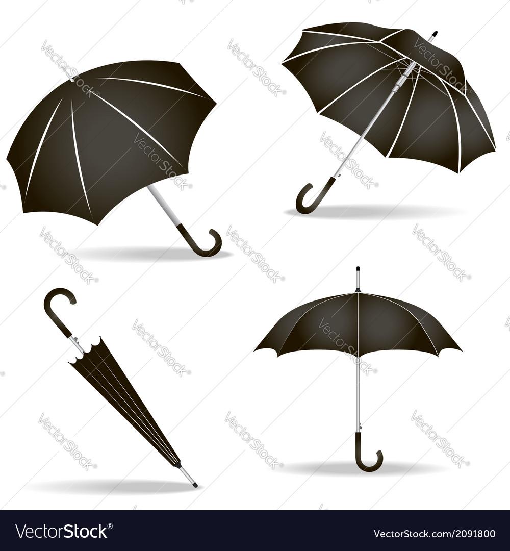 Black umbrellas set vector | Price: 1 Credit (USD $1)
