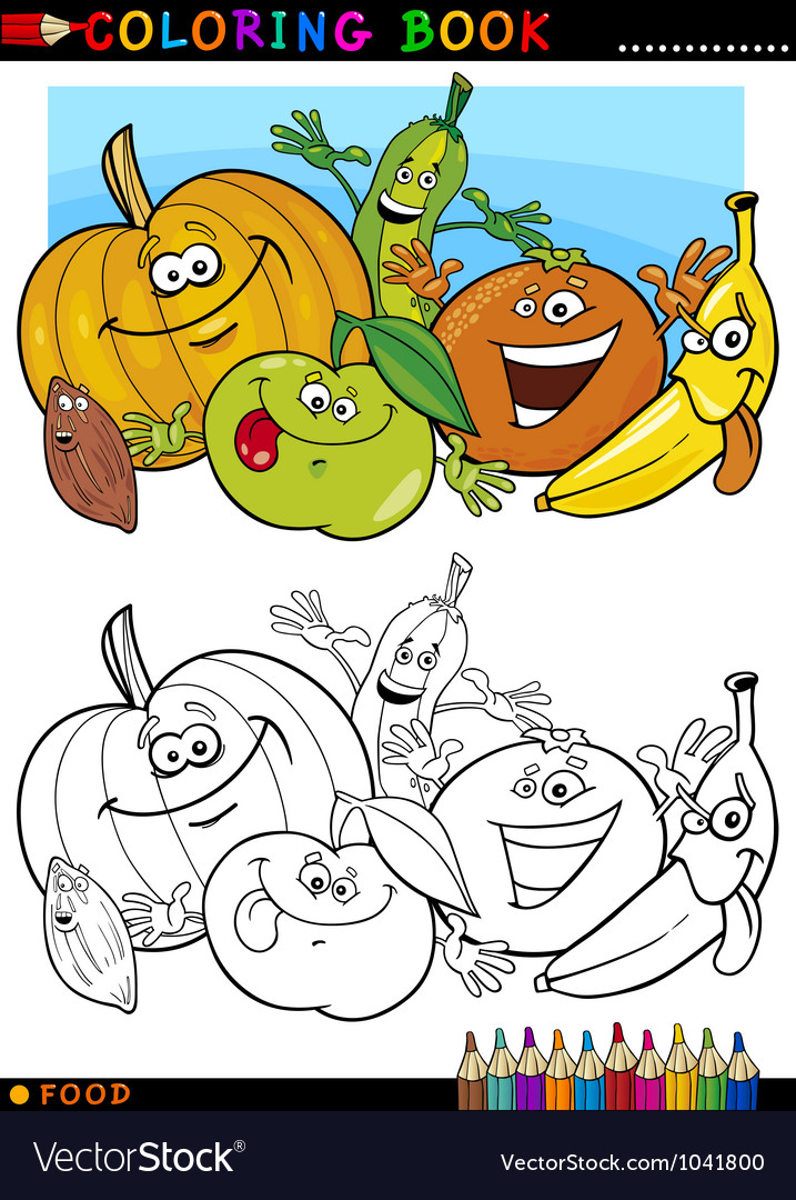 Fruits and vegetables for coloring vector | Price: 1 Credit (USD $1)