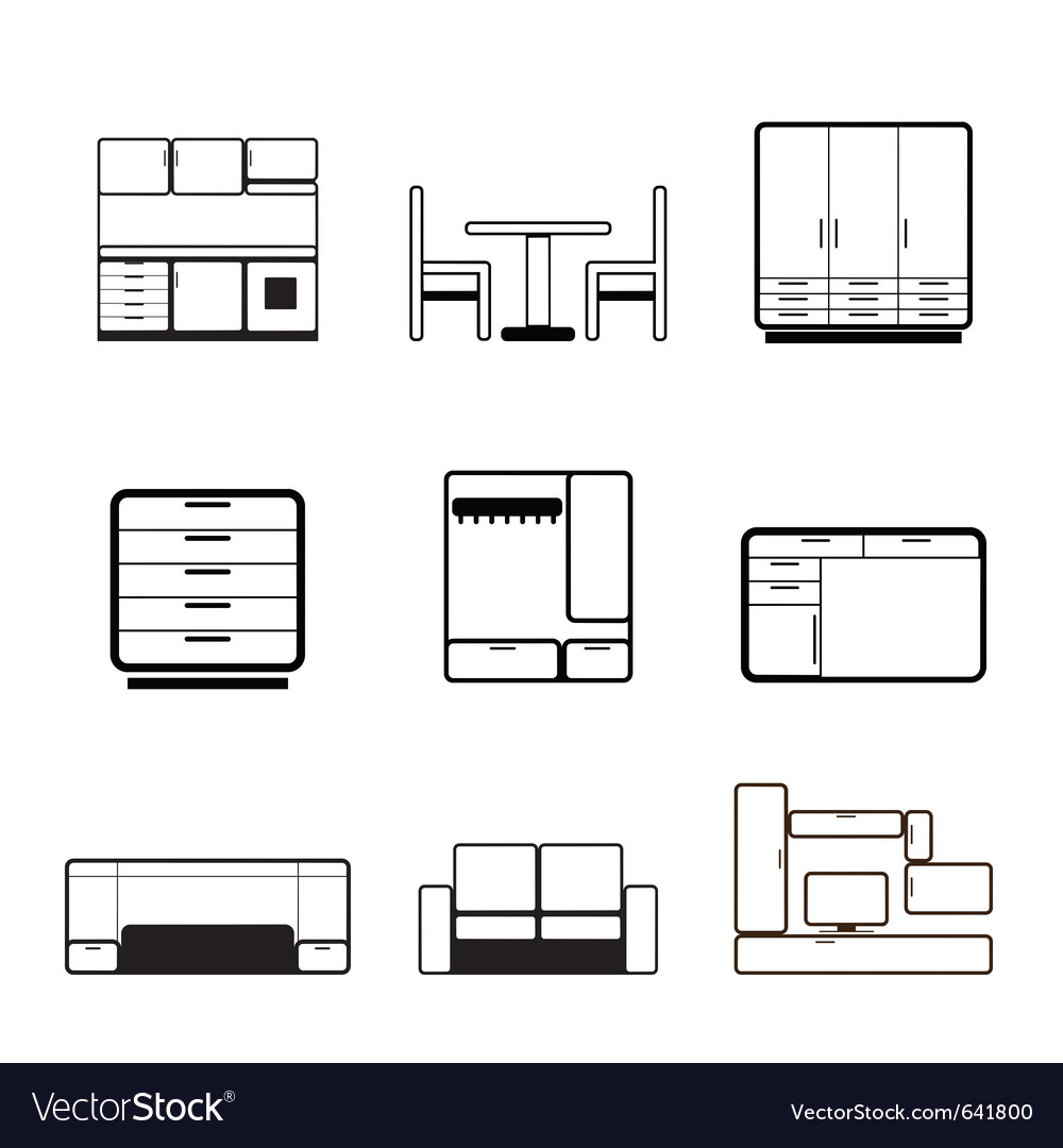 Furniture and furnishing icons vector | Price: 1 Credit (USD $1)