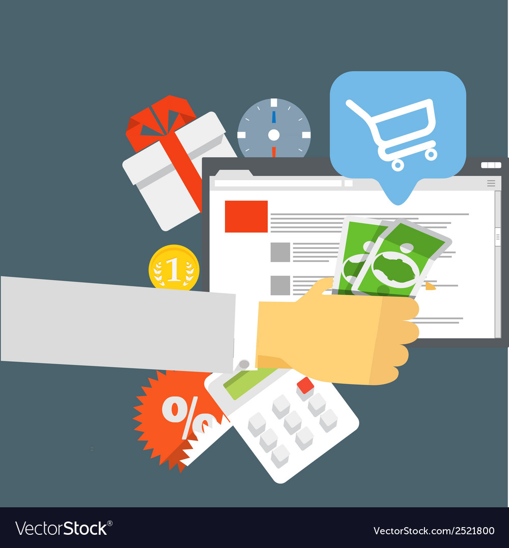 Modern digital shop concept flat design vector | Price: 1 Credit (USD $1)