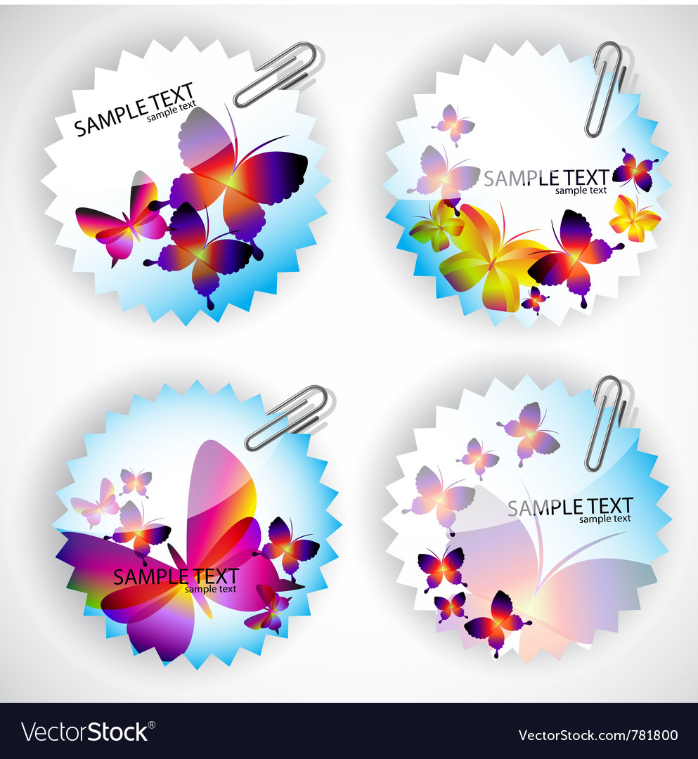 Round sticker with butterflies vector | Price: 1 Credit (USD $1)