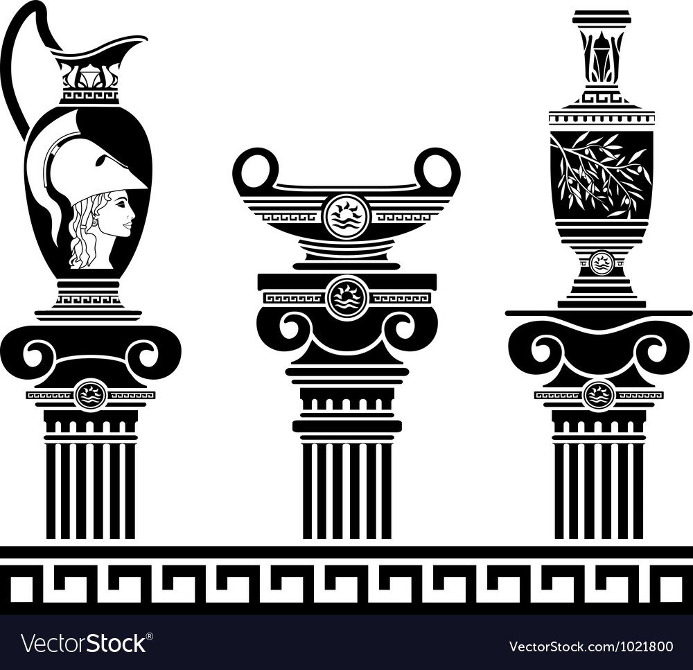 Set of hellenic vases and ionic columns stencils vector | Price: 1 Credit (USD $1)