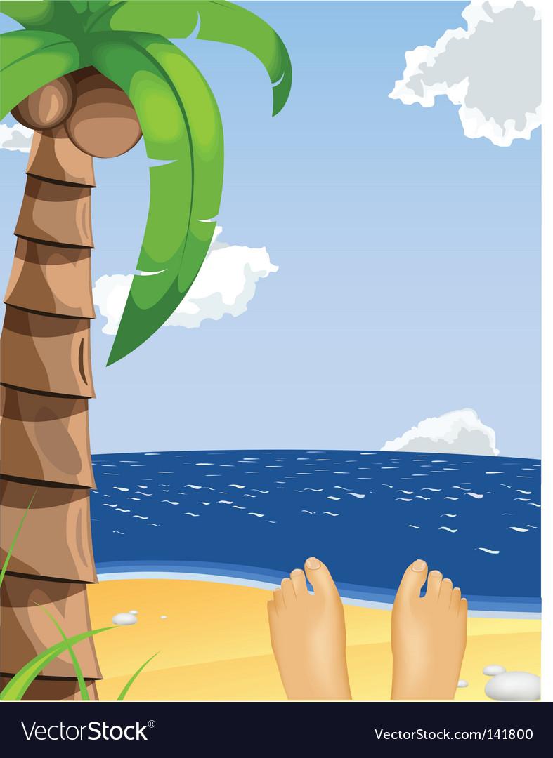 Summer beach scene vector   Price: 1 Credit (USD $1)