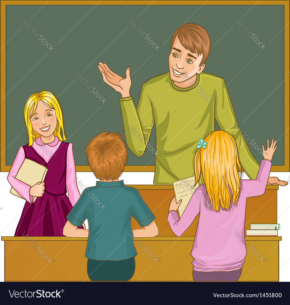 Teacher at blackboard in classroom with children vector | Price: 1 Credit (USD $1)