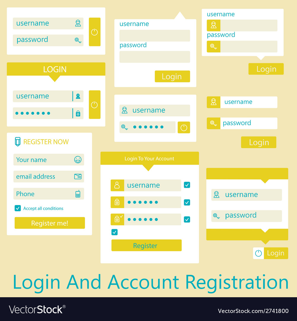 User interface login and account registration vector | Price: 1 Credit (USD $1)