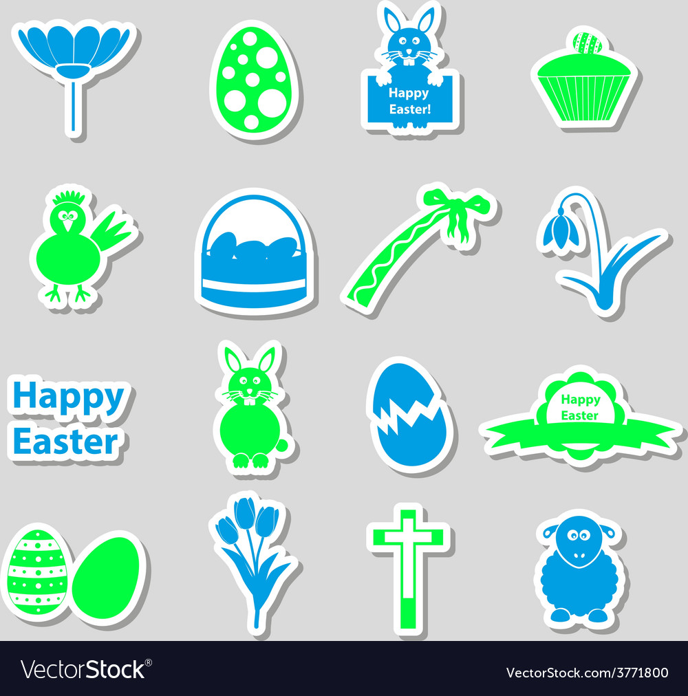 Various color easter stickers set with shadow vector | Price: 1 Credit (USD $1)