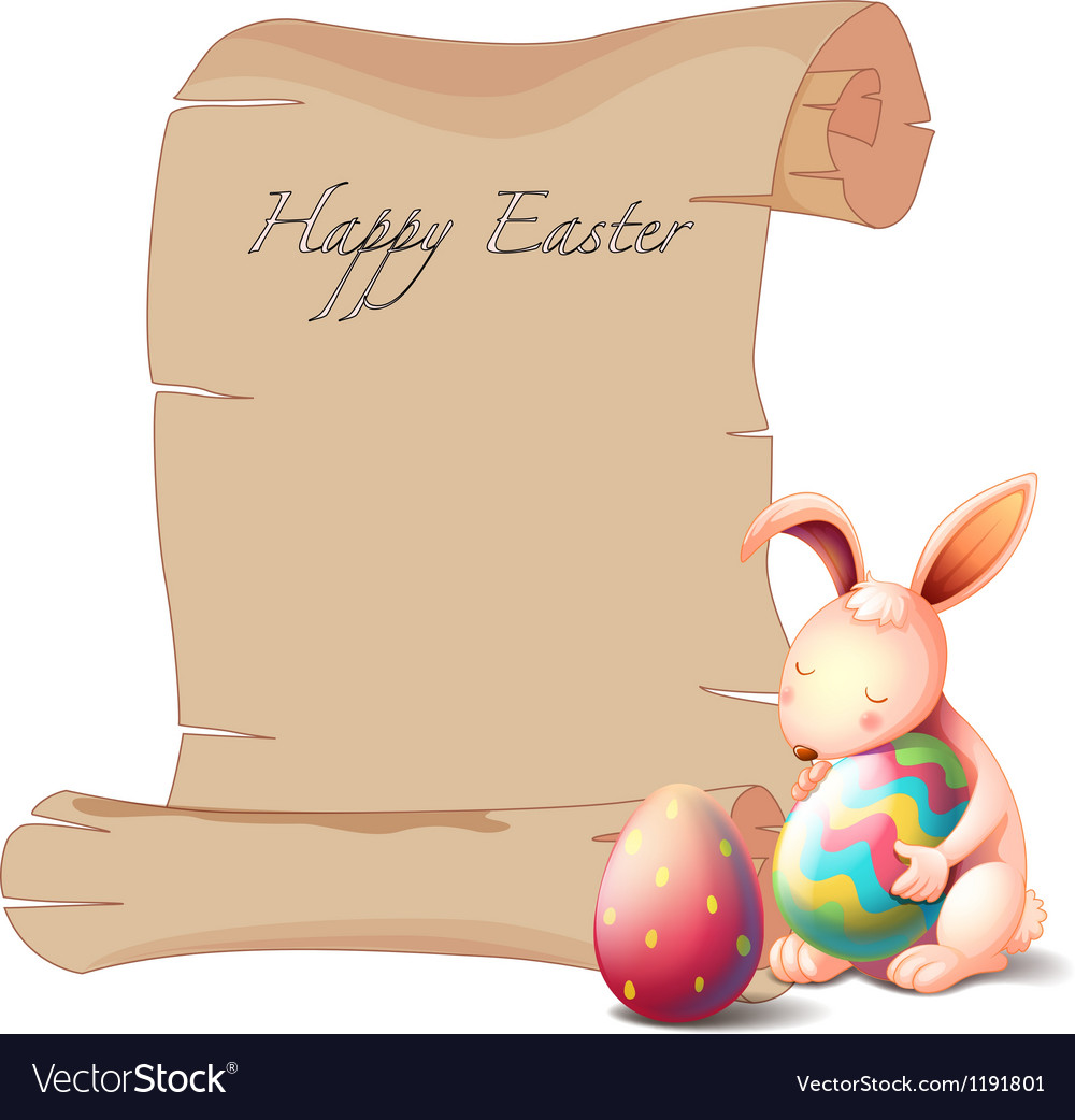 A bunny with two easter eggs vector | Price: 1 Credit (USD $1)