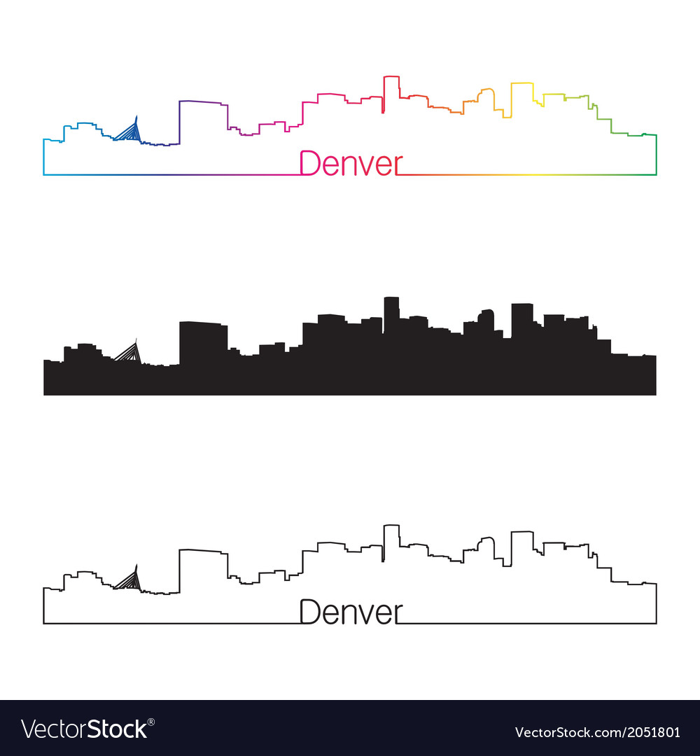 Denver skyline linear style with rainbow vector | Price: 1 Credit (USD $1)
