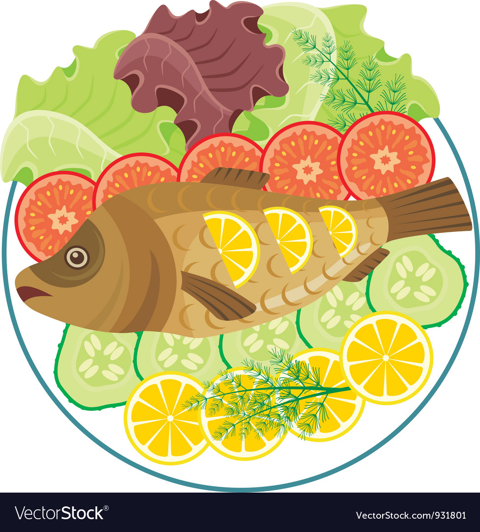 Dish with the baked fish vector | Price: 1 Credit (USD $1)