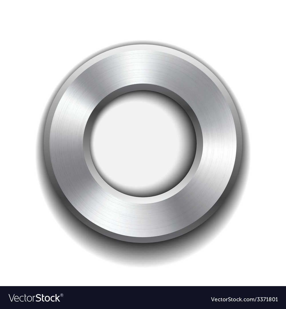 Donut button template with metal texture vector | Price: 1 Credit (USD $1)
