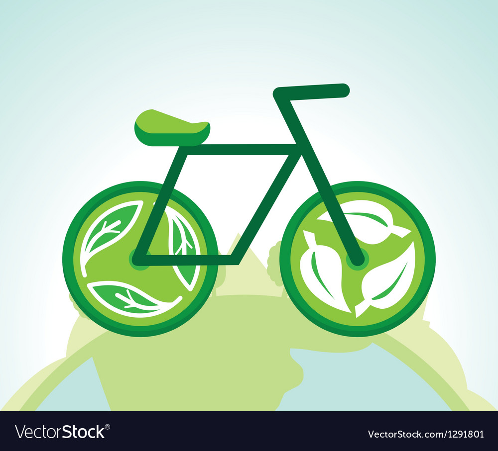 Green bicycle with recycle signs - ecology concept vector | Price: 1 Credit (USD $1)
