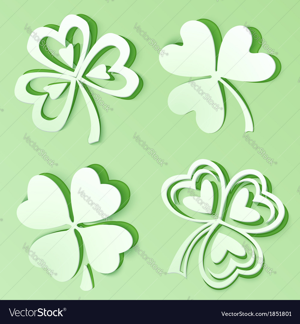 Green cutout paper clovers vector | Price: 1 Credit (USD $1)