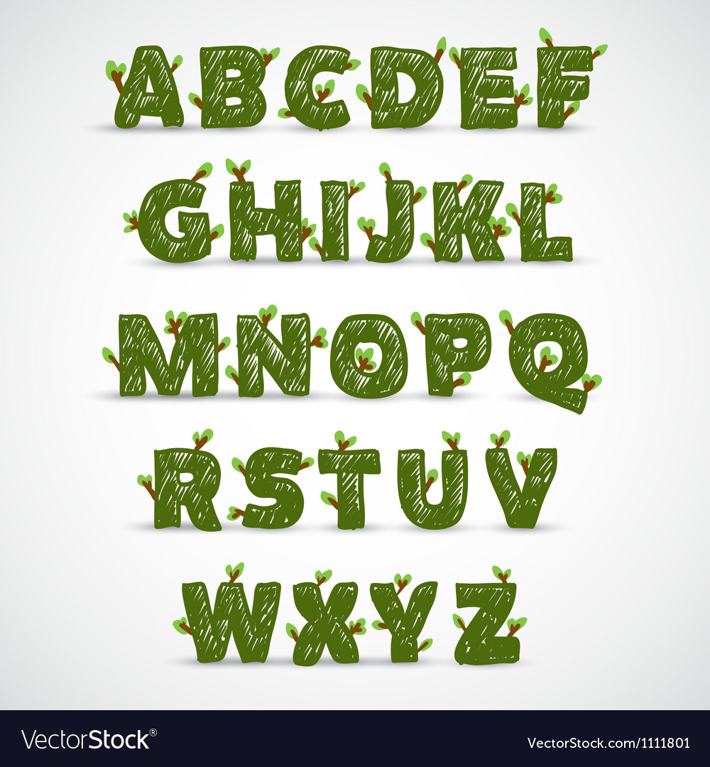 Handwritten abc alphabet with leaf vector | Price: 1 Credit (USD $1)