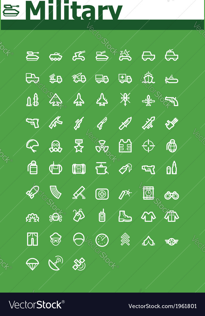 Military icon set vector | Price: 1 Credit (USD $1)