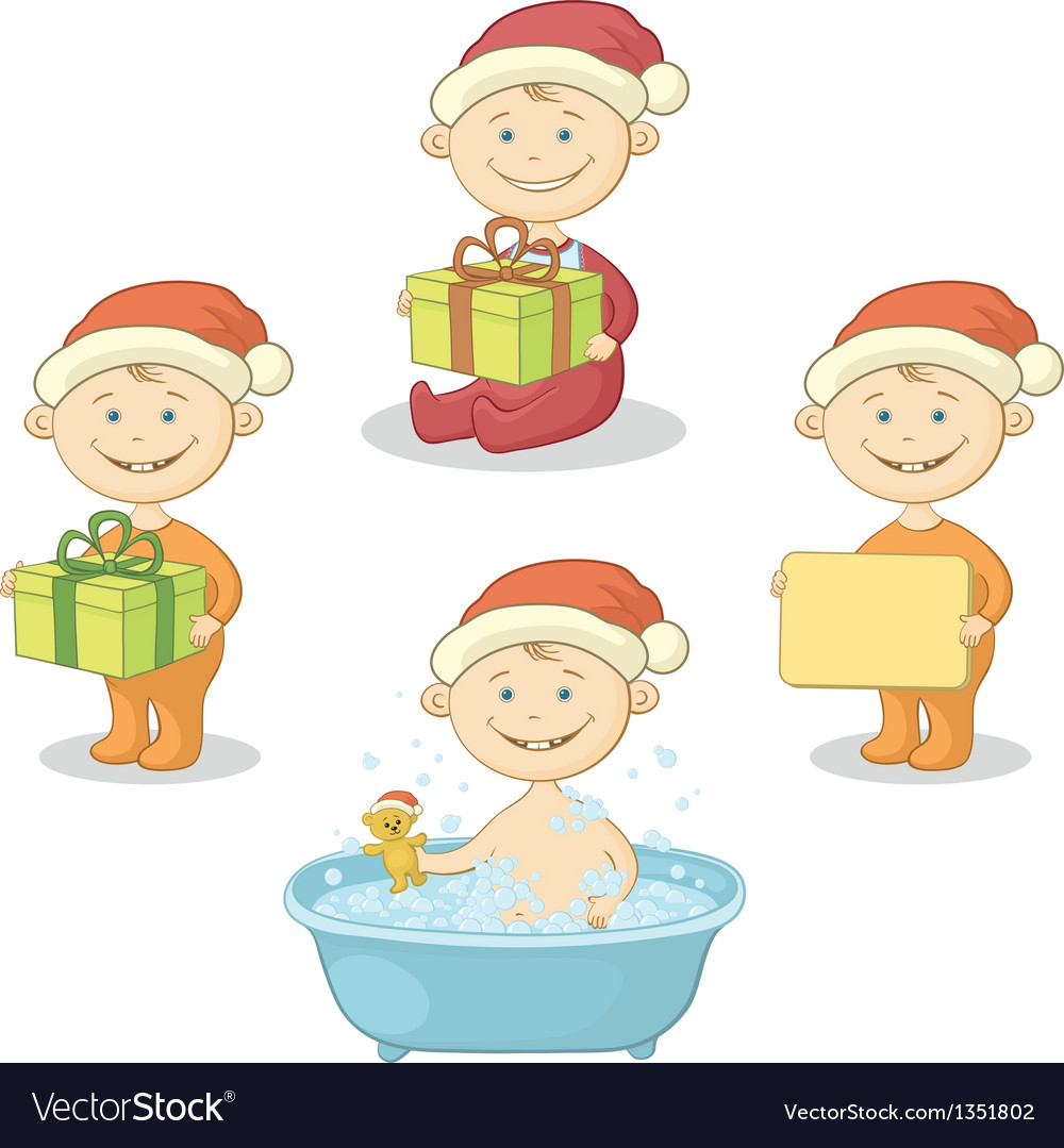 Cartoon children in santa hat vector | Price: 3 Credit (USD $3)