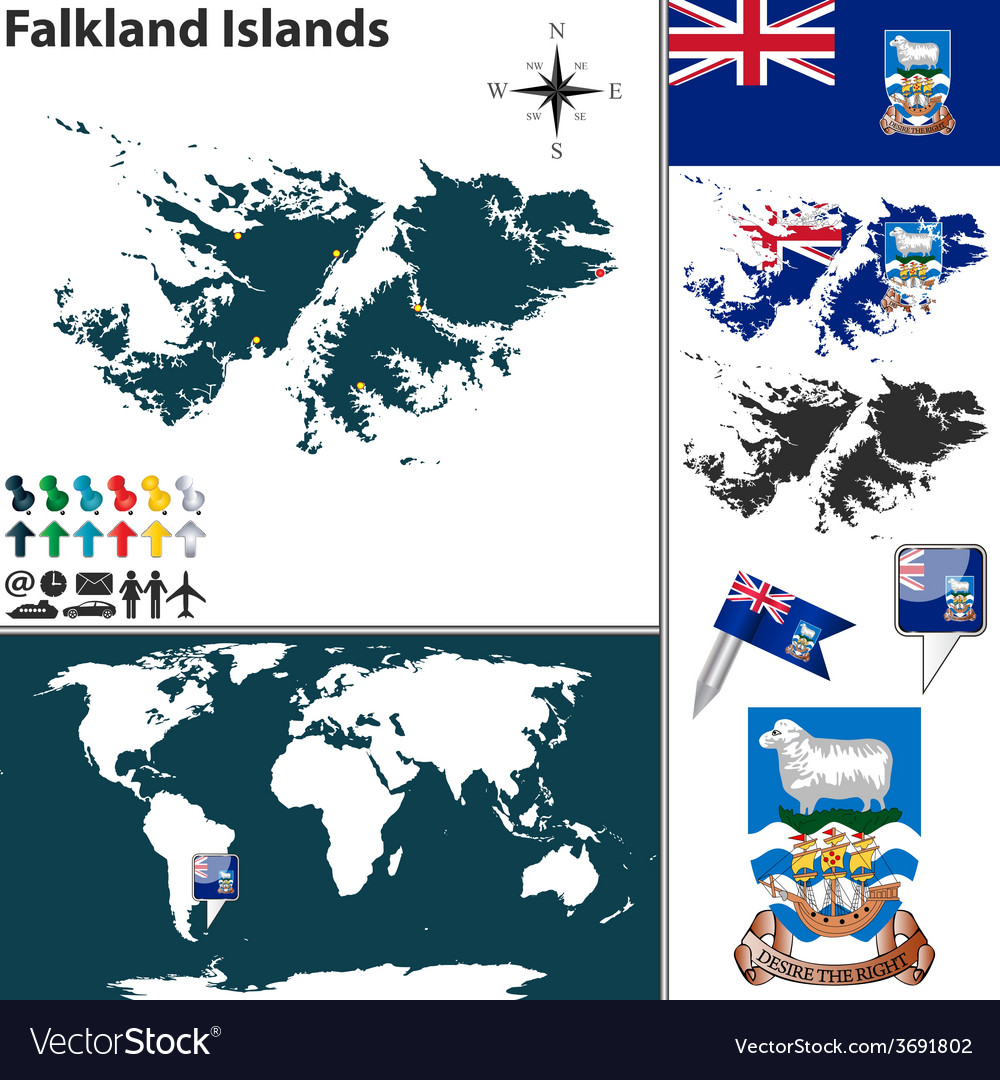 Falkland islands map world vector | Price: 1 Credit (USD $1)