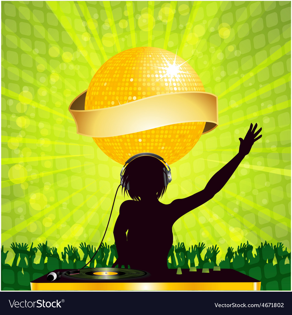 Female dj with disco ball and banner vector | Price: 1 Credit (USD $1)