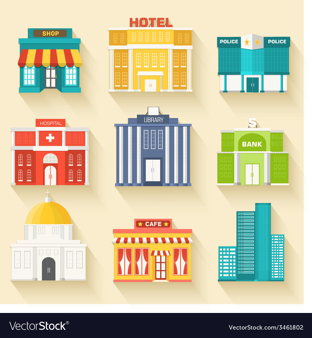 Flat colorful sity buildings set icons background vector | Price: 1 Credit (USD $1)