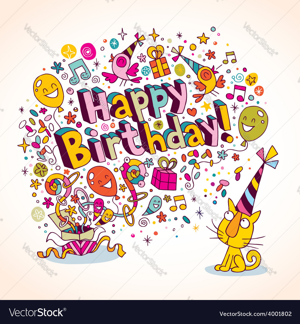 Happy birthday card 11 vector | Price: 1 Credit (USD $1)