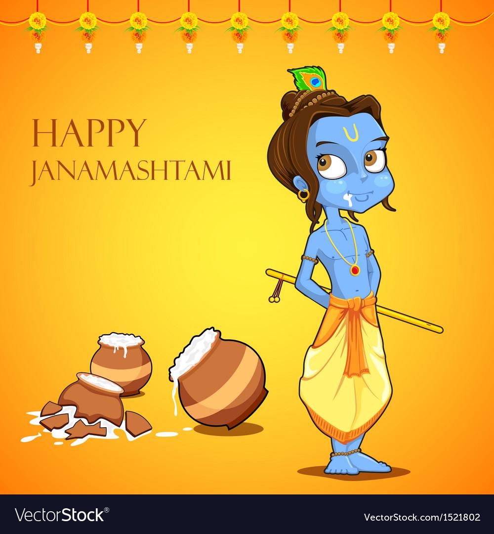 Lord krishana in janmashtami vector | Price: 3 Credit (USD $3)
