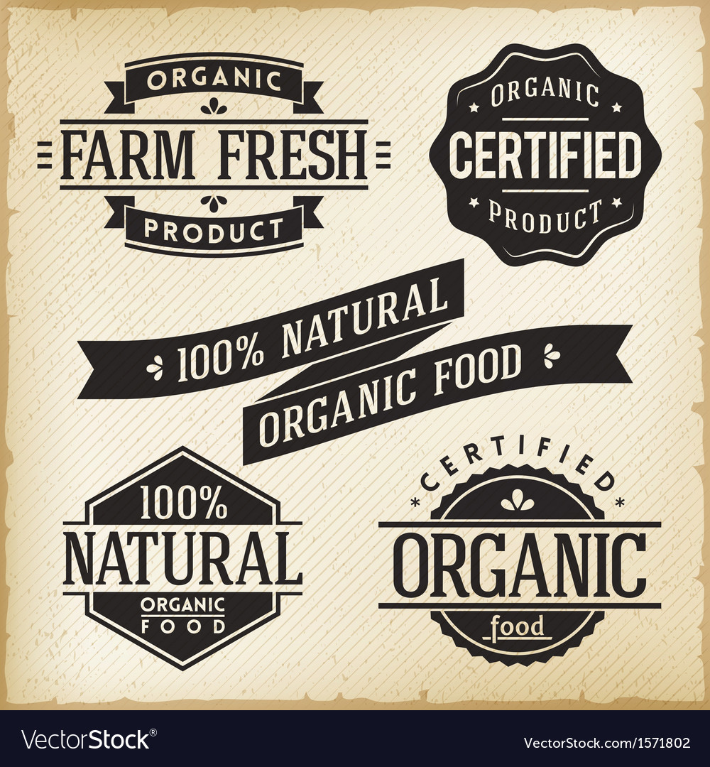 Organic food labels vector | Price: 1 Credit (USD $1)